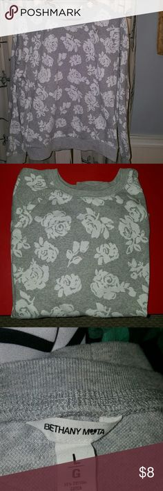 Bethany Mota Sweatshirt Grey with white rose patterned sweatshirt from the Bethany Mota collection of Aeropostale.  55/45 cotton/poly mix. Bethany Mota Tops Sweatshirts & Hoodies