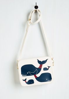 Doing Whale These Days Bag by Kling - White, Blue, Nautical, Quirky, Darling, Critters, Faux Leather, Print with Animals