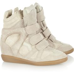 Isabel Marant|Bekkett suede and leather high-top wedge sneakers |... ($520) via Polyvore