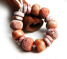 Terracotta Lampwork beads Brown orange handmade by MayaHoney,
