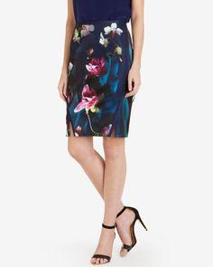 Fuchsia floral print pencil skirt - Dark Blue   Skirts   Ted Baker UK