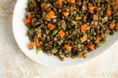 This lentil salad recipe is so simple, healthy, and delicious. Serve as is or French bistro style, under a seared piece of salmon.