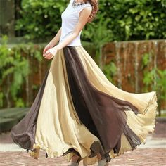 Vintage Chiffon Patchwork Boho Floor-Length Maxi Flare Skirt //Price: $ & FREE Shipping //     #deals