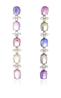 Multicolor Sapphire Cabochon Drop Earrings by GIOIA for Preorder on Moda Operandi