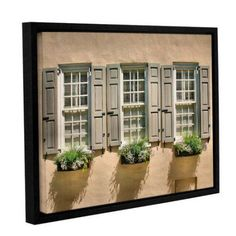 ArtWall Steve Ainsworth Windows of Old Charleston Gallery-Wrapped Floater-Framed Canvas, Size: 36 x 48, Brown