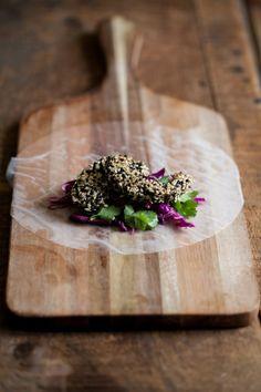 Sesame-Crusted Avocado & Cabbage Spring Rolls | Naturally Ella