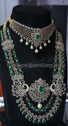 Multi Layer Diamond Haram by Kalasha Jewels Diamond Chocker Necklace, Diamond Jewellery, Emerald Necklace, Gold Necklace, Indian Jewelry Sets, Stylish Jewelry, Fashion Jewelry, Necklace Designs, Silver Jewelry