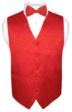 e4b4d927b65 Men s Red Paisley Design Dress Vest and BOWTie Set for Suit or Tuxedo Vest  And Bow
