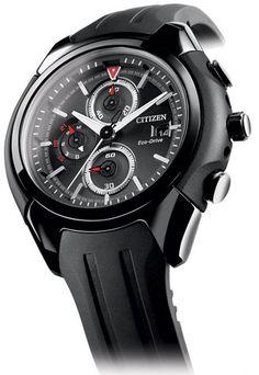 Montre Citizen Chronographe Eco-Drive CA0285-01E, boîtier acier et bracelet caoutchouc.