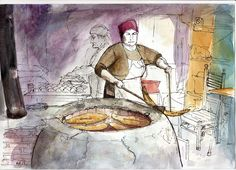 A tone bakery in Old Tbilisi, illustration by Andrew North