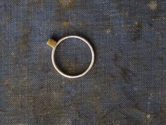 brass ring with hand cut cube - incredibly classic and simple