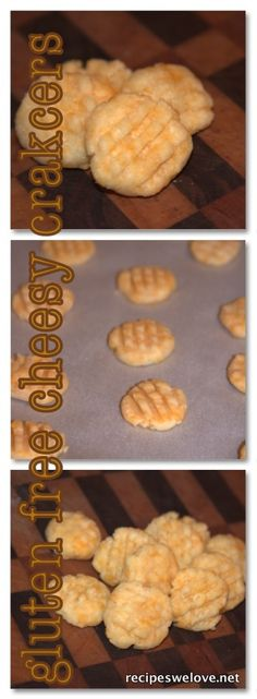 Recipes We Love: Gluten Free Cheesy Cracker Bites, sub w/ daiya cheese coconut oil Gluten Free Chips, Gluten Free Treats, Gluten Free Desserts, Gluten Free Recipes, Foods With Gluten, Sans Gluten, Recipes Appetizers And Snacks, Snack Recipes, Gluten Free Thanksgiving