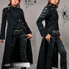 punck trench coats | Black Seventies Punk Rock Gothic Matrix Long Trench Coats Men Women ...
