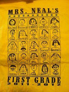 classroom t-shirts, each kid makes his own self portrait, $7 per t-shirt  Auction idea!!!  SB. Brilliant.