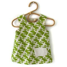 Smock Dress for 2-3 year old - Cloudbirds, in granny smith. Heather Moore for Skinny laMinx.