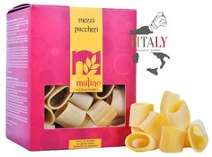 MEZZI PACCHERI GRAGNANO PASTA PGI 500gr - IL MULINO DI GRAGNANO  The Mezzi Paccheri pasta Gragnano PGI  are inspired by the famous paccheri, but smalleris. They are a type of traditional pasta in Naples so called because the shape is similar to the squid cut into rings. Excellent cooked with seafood and cherry tomatoes piennolo from Vesuvius.