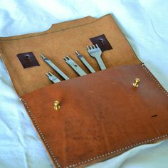 Leather tools... at home in their pouch. Full grain leather at its best.... see…