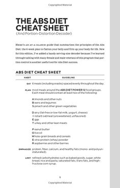 """The ABS Diet Cheat Sheet.....this is my go to""""diet"""""""