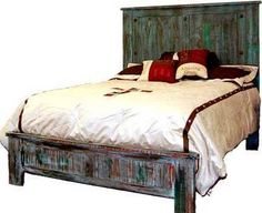 Wester, Rustic Painted Reclaimed Wood Bed, King or Queen, Free Shipping