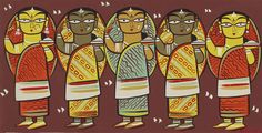 Jamini Roy IGNCA His name means beautiful relaxing night. And his beautiful paintings somehow lives up to meaning of his. Worli Painting, Saree Painting, Fabric Painting, Painting Corner, Watercolour Paintings, Bottle Painting, Watercolor, Modern Indian Art, Indian Folk Art