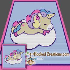 Sleepy Time Unicorn SC Baby Blanket Crochet Pattern - PDF Download