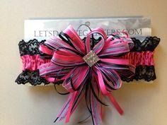 Prom Garter - hot pink and black  Letsdancegarters.com