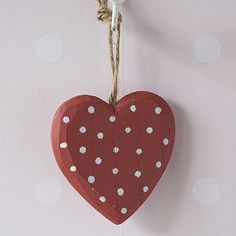 Chunky Polka Dot Heart Decoration (Red) | Hanging Hearts | Live Laugh Love