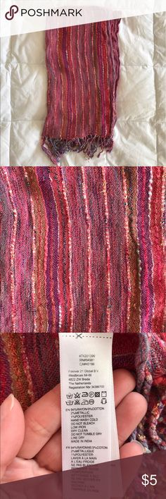 Colorful Mixed Yarn Scarf From Forever 21, this is a very colorful (mostly pink) woven scarf with metallic yarn and fringe. It's stripey and has some texture to it (see up close photo). It's long and in really good condition. 🚫NO TRADES.🚫 Forever 21 Accessories Scarves & Wraps