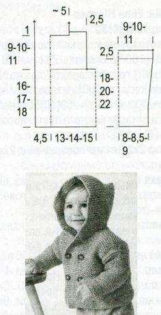 Детский жакет платочной вязкой