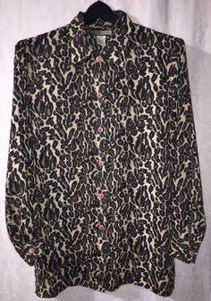 5f0dfc6fbd7e3 NOTATIONS Leopard Print Medium Large M L Blouse Semi Sheer Long Sleeve  Tunic Top