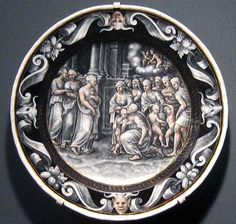 Courteys, Pierre: The Adoration of Psyche  Plate depicting the adoration of Psyche, Limoges enamel and grisaille enamel by Pierre Courteys, 1560; in the Los Angeles County Museum of Art.