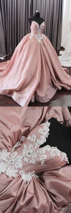 Fashion Ball Gown Sweetheart Pink Long Prom Dress With Appliques P0962 #promdresses #longpromdress #2018promdresses #fashionpromdresses #charmingpromdresses #2018newstyles #fashions #styles #hiprom #prom #ballgown #pinkprom #sweet16dresses #quinceaneradresses