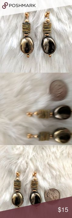 Metallic Safari Earring Boho vibe dangle earring with metallic and cork accents, in great vintage condition. Love these with camouflage! Vintage Jewelry Earrings