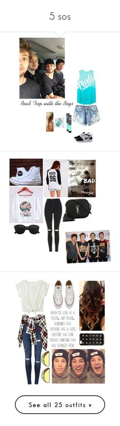 """5 sos"" by amylovesptx ❤ liked on Polyvore featuring Victoria's Secret, Converse, Topshop, Yves Saint Laurent, Miss Selfridge, J.Crew, Alexander McQueen, Giuseppe Zanotti, Judith Jack and Vans"
