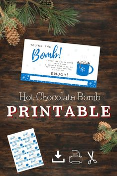 Download these print ready gift tags to attach to your favorite cold season treat. Hot Chocolate Bombs are the new popular treat to make this winter season. Not only are they full of chocolate-y go… Halloween Kitchen, Easy Halloween, Printable Tags, Free Printables, Youre The Bomb, Chocolate Bomb, Party Games, Party Favors, Valentines Day Party