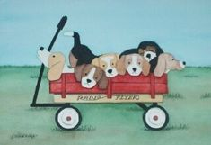 Beagle family going for a wagon ride / Lynch by watercolorqueen, $12.99