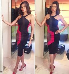 Sushmita Sen in black Kanika Goyal dress