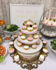 Pink and Gold baby shower set up. www.centsibleevents.com Find us on Facebook too!