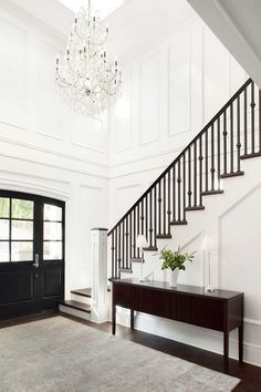 Stairs before and plan. Here's the design for my staircase makeover. Ideas a… Stairs before and plan. Here's the design for my staircase makeover. Design Entrée, Flur Design, Deco Design, House Design, Design Ideas, Lobby Design, Design Inspiration, Foyer Chandelier, Hallway Lighting