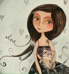 Illustration by elsbeth eksteen♥🌸♥ Art And Illustration, Illustrations, I Love Cats, Crazy Cats, Image Chat, Cat Drawing, Whimsical Art, Cat Art, Kitsch