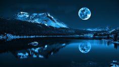 Mond, See, Berge, kalte Nacht, Natur Landschaft Hintergrundbilder - 1920x1080