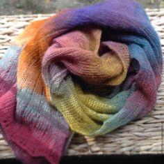 Купить Шарф-палантин из экопряжи - разноцветный, палантин, палантин ручной работы, палантин вязаный