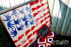 Cute 4th of July craft for kids. I did this with my daycare kids last 4th of July they were really cute but it was quit a big poster size