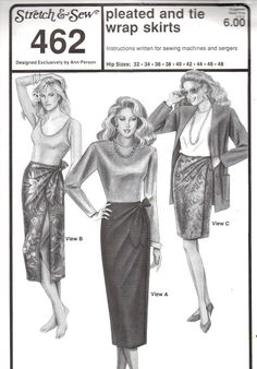 Stretch & Sew 462 PLEATED and TIE WRAP Skirts  by PatternPeddler (Craft Supplies & Tools, Patterns & Tutorials, Sewing & Needlecraft, Sewing, wrap around, wrap skirt, front wrap, tie wrap, swim cover up, plus size)