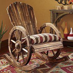 Wagon Wheel Rocker. What a cool chair!