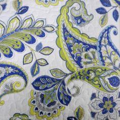 Cynthia Rowley Paisley 3pc King Quilt Set Floral Leaf Green Blue Aqua Yellow | eBay