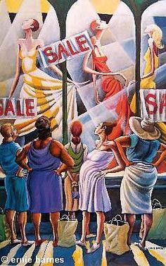 This definitely speaks to a shopaholic like me. LOVE IT!   Window Wishing by Ernie Barnes