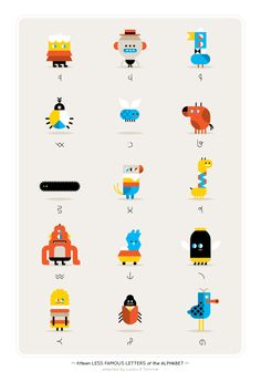 fifteen less famous letters of the alphabet selected by loulou and tummie Flat Illustration, Character Illustration, Graphic Design Illustration, Simple Character, Game Character, Funny Character, Design Graphique, Art Graphique, Alphabet