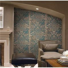290-50209 Platinum Damask - Fairwinds Studios Wallpaper