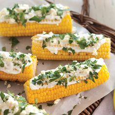 grilled corn with herbs and feta cheese